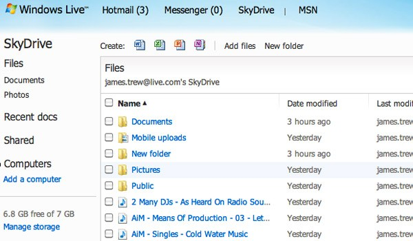 SkyDrive Web-interface