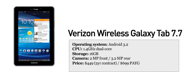 Verizon Galaxy Tab 7.7