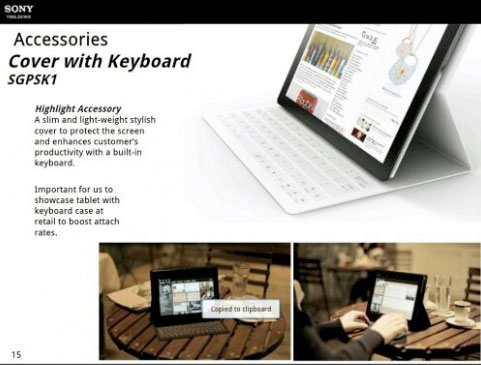 Sony Xperia Tablet leaked from internal slides Surfacestyle keyboard and quadcore processor