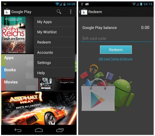 Updated Google Play app reveals gift card support, wish list coming soon?