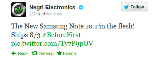 Samsung Galaxy Note 101 available for preorder from Negri Electronics, ship date set for tomorrow