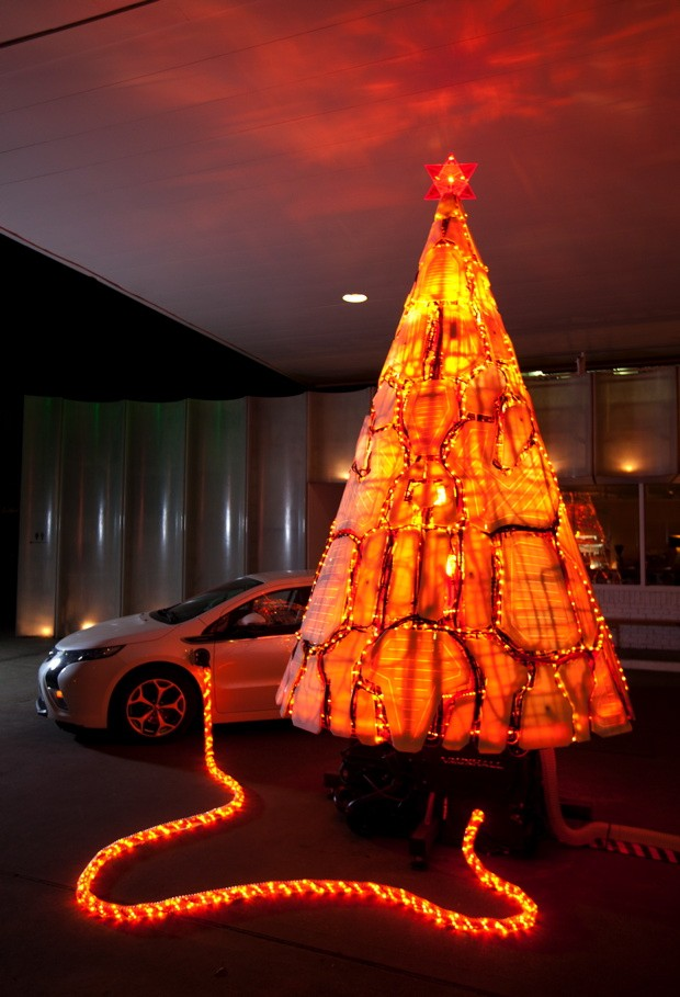 Visualized A christmas tree made out of Chevrolet Volt parts