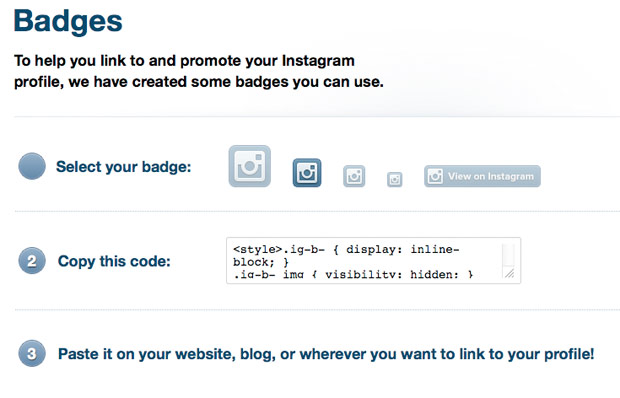 Instagram Badges are now available, because your web profile deserves the love
