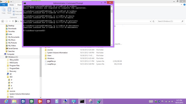 A better way to store media on Microsoft Surface RT SD cards, junction points and the command prompt