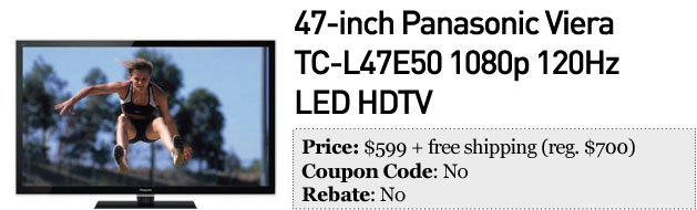 Slickdeals' best in tech for December 17th 47inch Panasonic Viera HDTV and Nikon D600 kit