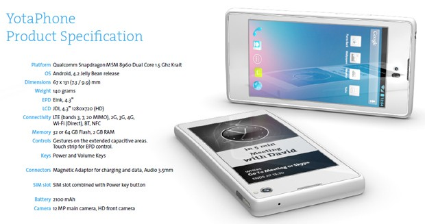 Russian YotaPhone coming with dual 43inch LCD and EInk displays in Q3 2012