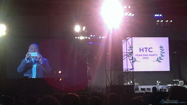 HTC's Peter Chou flashes M7 at company gathering, screams the name
