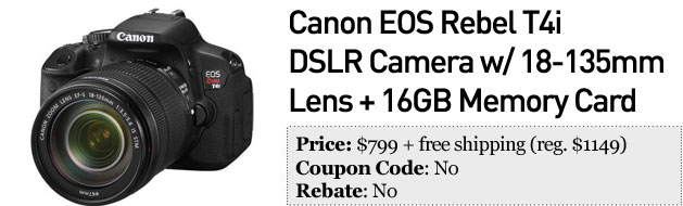 Slickdeals' best in tech for March 6th Canon Rebel T4i and 3TB Seagate external hard drive