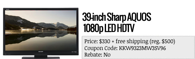 Slickdeals' best in tech for April 3rd Sony Alpha SLTA57K and 39inch Sharp AQUOS HDTV