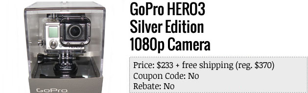 Slickdeals' best in tech for April 22nd GoPro Hero3 Silver Edition and more