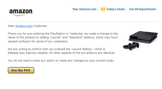 Amazon splits PS4 preorders into 'Launch' and 'Standard' editions, Launch is already sold out