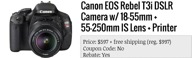 Slickdeals' best in tech for June 19th Canon EOS Rebel T3i bundle and 24inch ASUS display