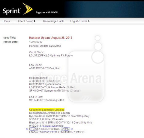 Sprint roadmap hints at blue HTC One launch on September 10th