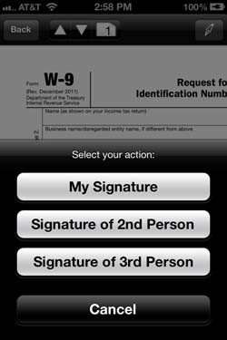IRL SignEasy digital signature app and TK