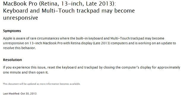 DNP Apple knows about Retina MacBook Pro's keyboard issues, working on a fix