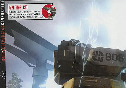 A note that Battlefield 2142's game footage is on the magazine's CD