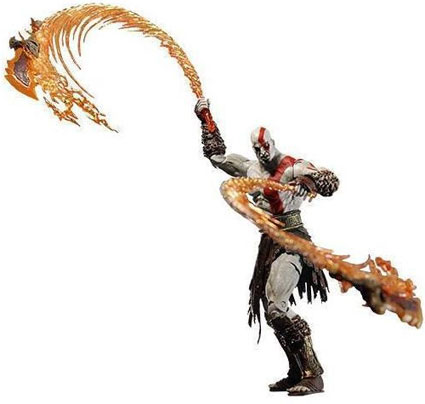 kratos with flaming chains