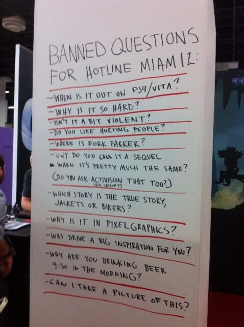 SeenGamescom Banned questions for the Hotline Miami 2 demo