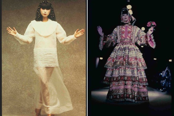 A wedding dress from Kenzo's s/s 1979 collection and the label's a/w 1982 Russian collection