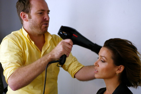 Dannii Minogue having blow dry