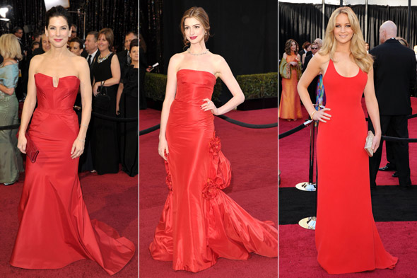 Sandra Bullock, Anne Hathaway and Jennifer Lawrence all wore red at the 2011 Academy Award