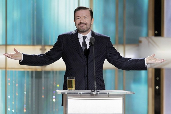 Ricky Gervais hosting the Golden Globes