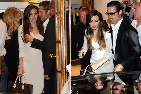 Brad Pitt and Angelina Jolie leave restaurant Tetou in Cannes