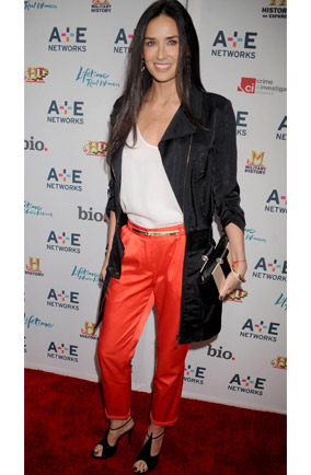 Demi Moore wears orange red trousers in New York. Hot or not?