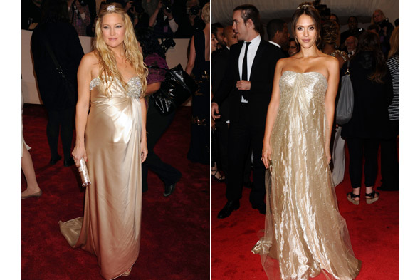 Kate Hudson and Jessica Alba work maternity style at the 2011 Met Gala