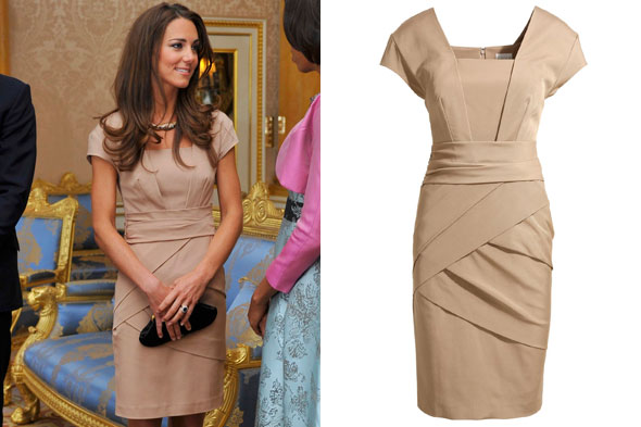 Kate Middleton, Duchess of Cambridge wearing a nude Reiss dress to greet the Obamas at Buckingham Palace