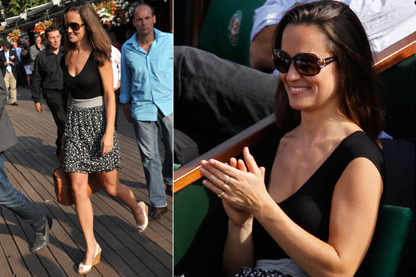 Pippa Middleton watches Rafael Nadal win during the French Open tennis tournament in Paris