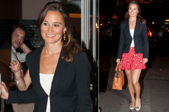 Pretty in Paris: Pippa Middleton enjoys a night out in the French capital with some pals
