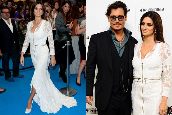 Johnny Depp and Penelope Cruz at the Pirates of the Caribbean premiere in London