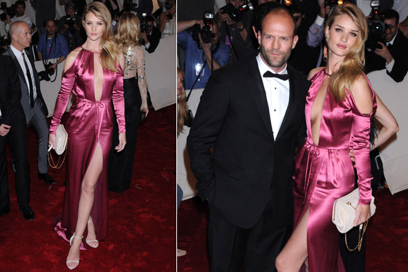 Rosie Huntington-Whiteley wows in Burberry with Jason Statham at the 2011 Met Ball