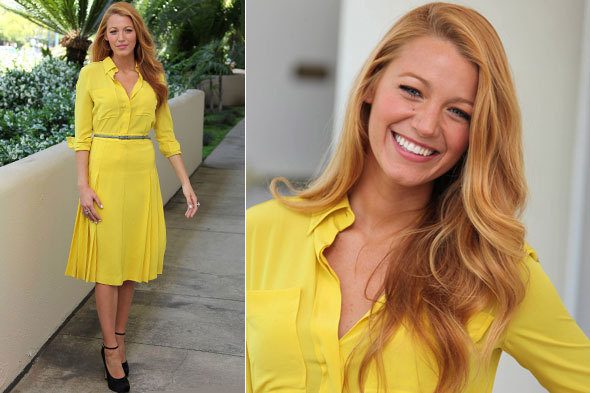 Blake Lively in bright yellow dress at the Green Lantern press junket in California