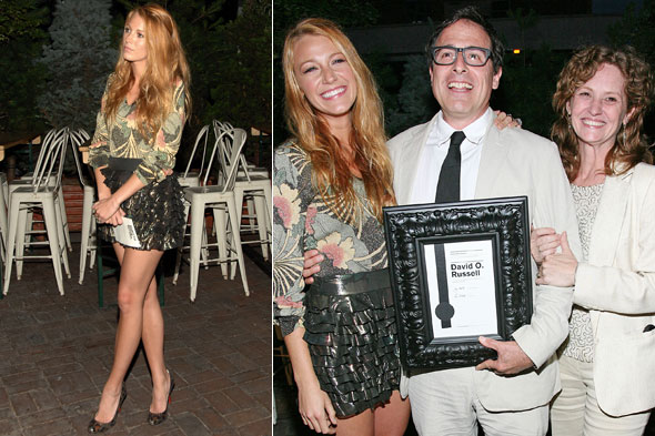Blake Lively, David O. Russell and Melissa Leo at the Ghetto Film School spring benefit in New York.