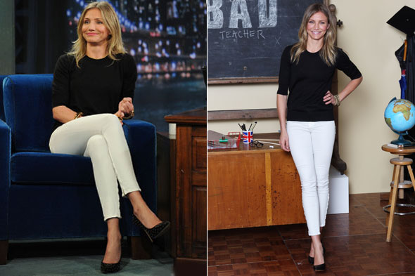 Cameron Diaz wears the same Bad Teacher outfit twice, appearing on Late Night with Jimmy Fallon, and in London