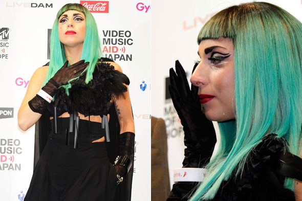 Lady Gaga cries during the Save Japan press conference