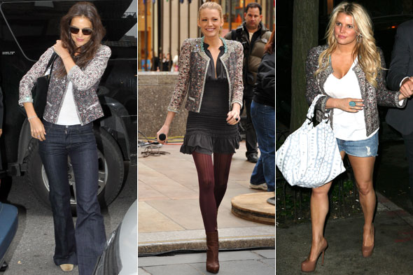 Katie Holmes, Blake Lively and Jessica Simpson in the same Isabel Marant jacket