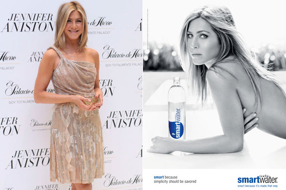 Jennifer Aniston poses topless in the new advert for Smartwater