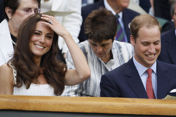William and Kate in the royal box at centre court at Wimbledon