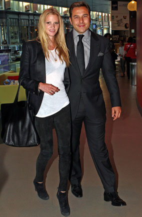 Lara Stone and David Walliams arriving for the premiere of Mr Stink the musical in Leciester