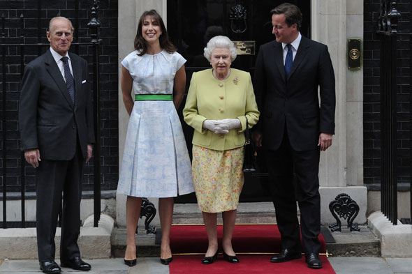 Prince Philip, The Queen, David and Samantha Cameron at a luncheon to celebrate Prince Philip's 90th birthday