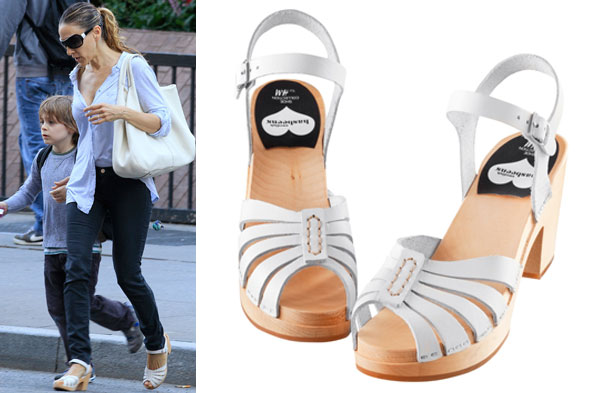 Sarah Jessica Parker wearing Swedish Hasbeens for H&M shoes