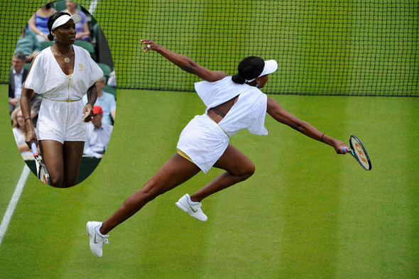 Venus Williams wearing a lace playsuit at Wimbledon