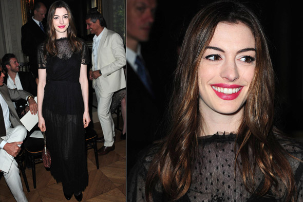 Anne Hathaway front row at the Valentino couture show in Paris.