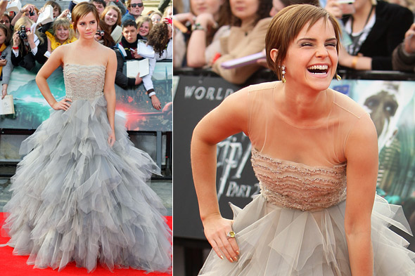 Emma Watson on the red carpet at the Harry Potter world premiere in Oscar de la renta