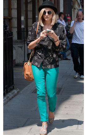 Fearne Cotton outside the Radio 1 studios in bright green trousers