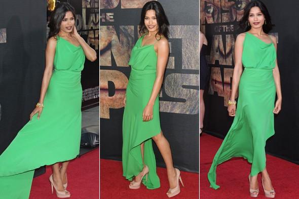 Freida Pinto in greeen at The Rise of The Planet of The Apes premiere in California