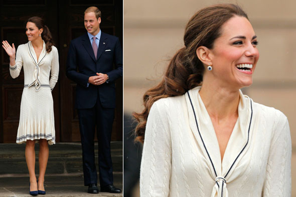 Duchess Kate wears Sarah Burton for Alexander McQueen during day five of the royal tour in Canada